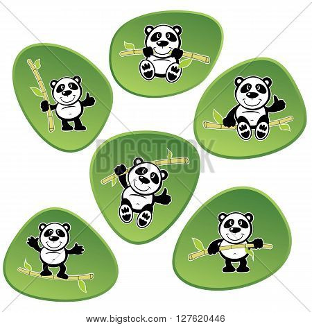 Vector Panda bears cartoon characters set on green backgrounds