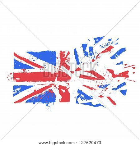 Vector Grunge Stylized Uk Flag With Paint Splatters And Ink Drops