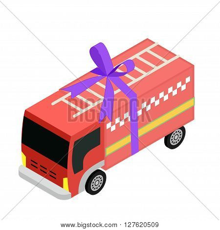 Isometric fair truck icon toy with ribbon
