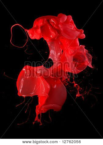 pink paint splash isolated on blzck background