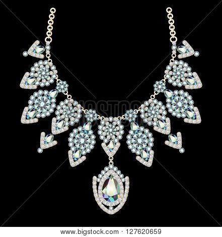 illustration of beautiful female necklace with precious stones o
