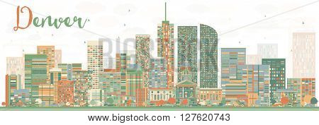 Abstract Denver Skyline with Color Buildings. Business Travel and Tourism Concept with Modern Buildings. Image for Presentation Banner Placard and Web Site.