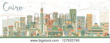 Abstract Cairo Skyline with Color Buildings. Business Travel and Tourism Concept with Historic Buildings. Image for Presentation Banner Placard and Web Site.