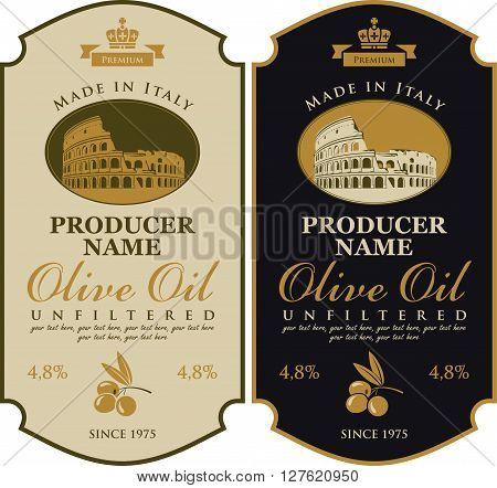 Label for olive oil Made in Italy with the image of amphitheater