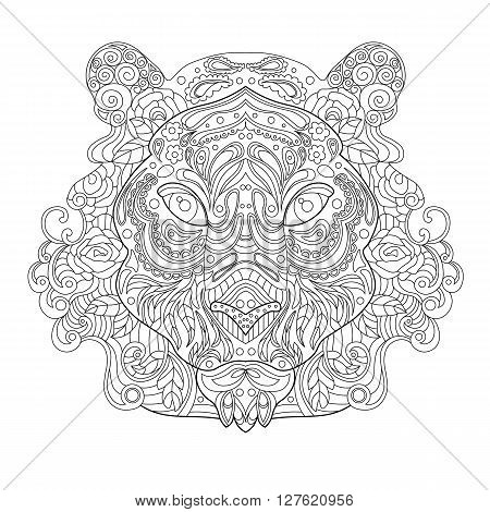 Ethnic Zentagle Ornate Hand Drawn Tiger Head. Black and White Ink Doodle Vector Illustration. Sketch for Tattoo Poster Print or t-shirt. Relaxing Coloring Book for Adult and Children.