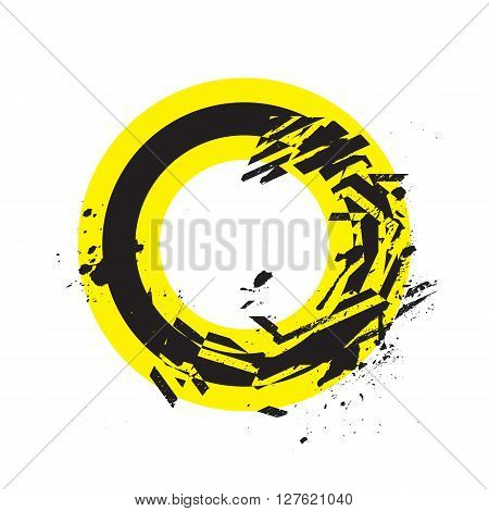 Vector Grunge Stylized Geometrical Shape Explosion. Circle Symbol With Splatters And Splashes.