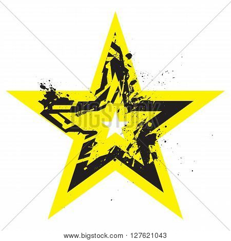 Vector Grunge Stylized Geometrical Shape Explosion. Star Symbol With Splatters And Splashes.