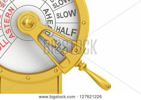 Engine order telegraph closeup Full Ahead concept. 3D rendering