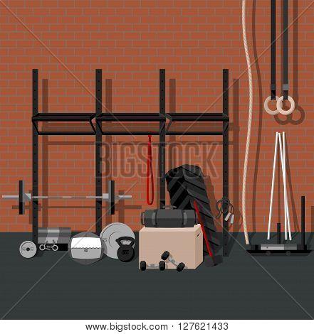 Sport gym flat set BONUS brick seamless pattern. Colors are global