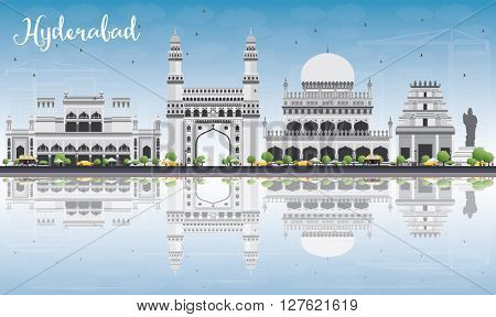 Hyderabad Skyline with Gray Landmarks, Blue Sky and Reflections. Business Travel and Tourism Concept with Historic Buildings. Image for Presentation Banner Placard and Web Site.
