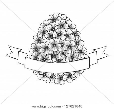 beautiful monochrome black and white Easter greeting card with flowers graphics in the form of eggs with ribbon labeling . Hand-drawn contour lines and strokes. Perfect for background greeting cards and invitations