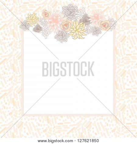 Flower square card template vector. Mums, roses and succulents wedding invitation or greeting card top design. Cream pink and beige violet flower decor.