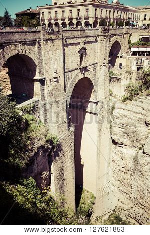 Bridge of Ronda one of the most famous white villages of Malaga Andalusia Spain