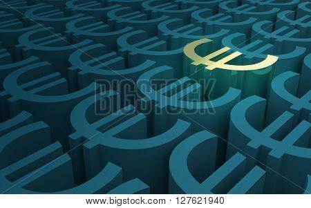 Elevated Euro Symbols pattern 3D illustration 3D rendering
