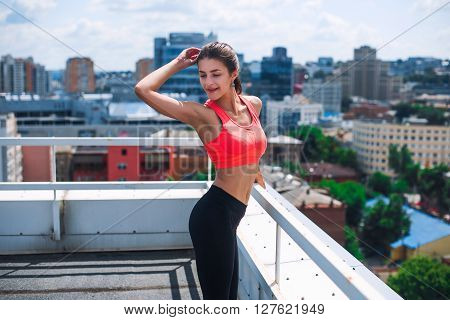Yoga On The Roof. Healthy Lifestyle  . Young Woman