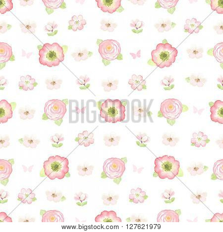 Summer soft seamless pattern in vintage style, vector illustration.