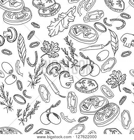 Seamless pattern with different vegetables and herbs. Endless texture for your design, announcements, fabrics, cards, posters, restaurant and cafe menu. Black and white