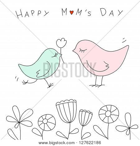 Happy mothers day with cute birds. Vector illustration. Happy Mom's Day card in Doodle style.