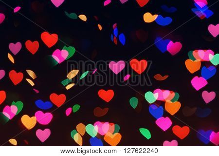 Bokeh Hearts Lights Romantic Background Night 2