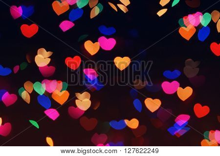 Bokeh Hearts Lights Romantic Background Night 3