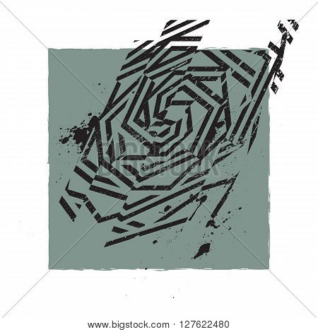 Vector Abstract Grunge Print Design With Dirt Brush Painting And Splash Drops