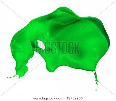 salpicaduras de pintura verde, aislado sobre fondo blanco