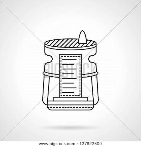Equipment and accessories for purification and improvement of air in house or office. Humidifier device Flat line style vector icon. Single design element for website, business.