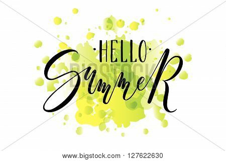 Hand Sketched Hello Summer Lettering Typography