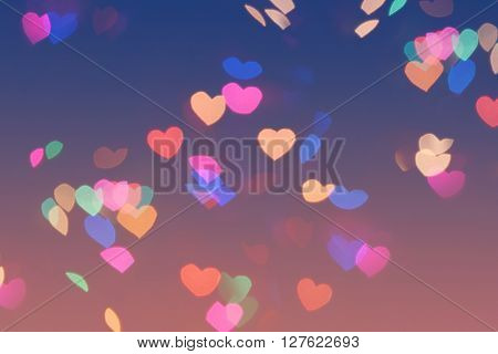 Bokeh Hearts Lights Romantic Background Pink Blue 2
