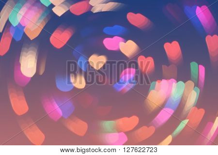 Bokeh Hearts Lights Whirl Romantic Background Pink Blue 5