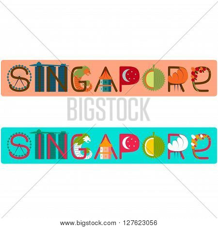 Singapore word title with culture symbol illustration