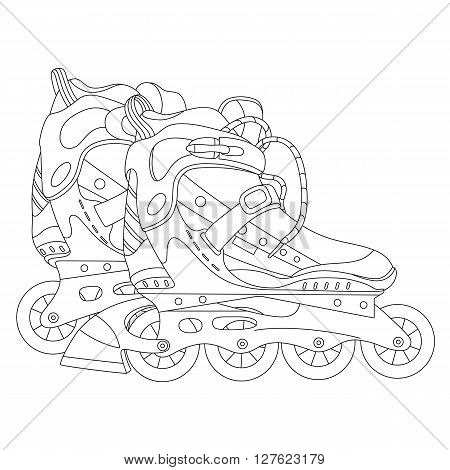 Vector line art roller skates. Hand-drawn vector illustration. Can be used for graphic design, textile design or web design.
