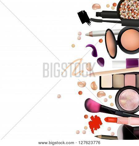 Make Up Artist Objects. lipstick eye shadows eyeliner concealer nail polish brushespencils palettes powder. Vector Beautiful Background. Realistic Vector Design.