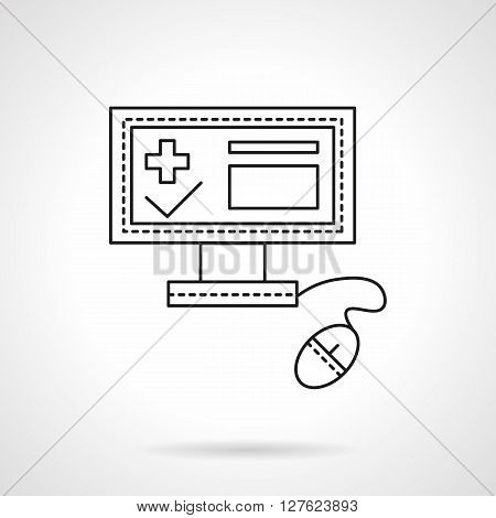 PC with computer mouse and medical registration app on screen. Hospital administration. Health care theme.  Flat line style vector icon. Single design element for website, business.