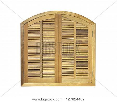 photo on the wooden window shutters of closed studio on white background