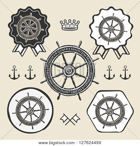 Helm vintage sea naval symbol emblem label collection set