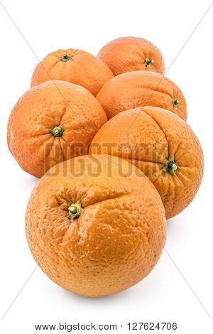 Bunch of raw organic oranges isolated on white background