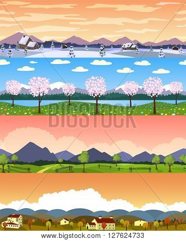 Four seasons landscape cartoon seamless backgrounds set. Vector illustration. All four are layered and grouped easy to edit.
