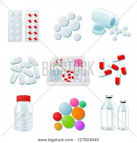 medicaments of various types, set of medical pill, Medicine isolated on white background, colorful products. Bottles and boxes with colored vitamins. Things to human health.