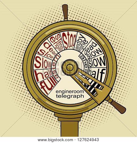 Engine order telegraph pop art vector illustration. Vintage retro style. Conceptual illustration