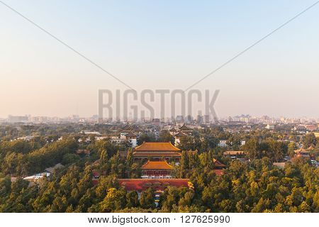 Cityscape Of Peking At Sunset