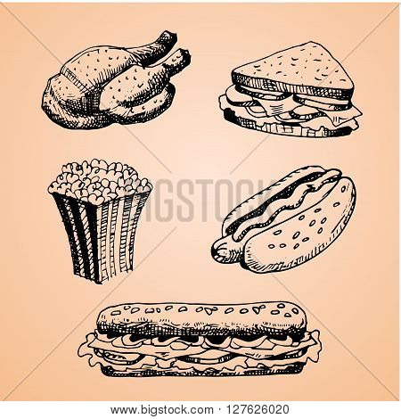 Set with fast food hand drawn illustration. Sketch vector illustration. Fast food restaurant fast food menu. Chicken Sandwich Pop Corn Hot Dog Taco