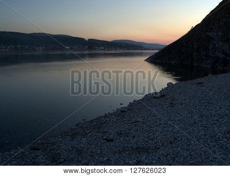 Sunset on the River Enysey near Krasnoyarsk. Sibirian Landscape Photo.