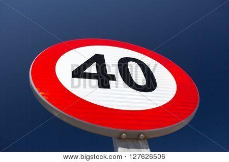 European Speed limit sign 40 km per hour