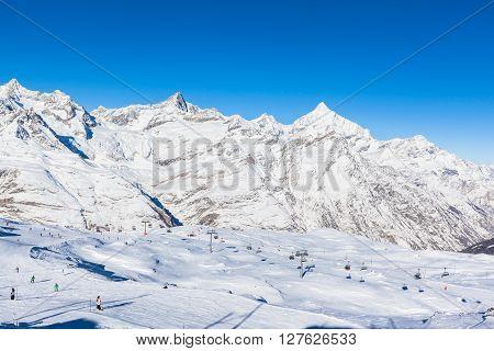 Skiing Area In Zermatt