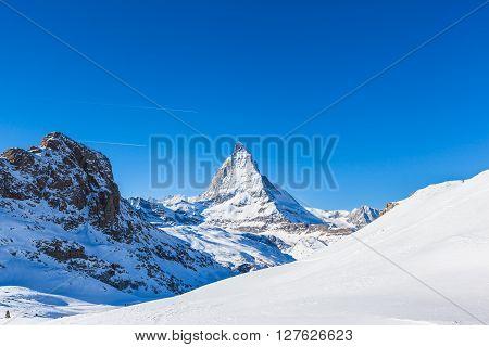 Stunning View Of Matterhorn In Winter