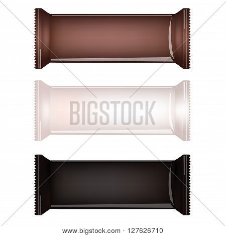 Brown White and Black Blank Food Packaging For Biscuit Wafer Crackers Sweets Chocolate Bar Candy Bar Snacks . Design Template. Isolated On White Background. Package Mock-up.