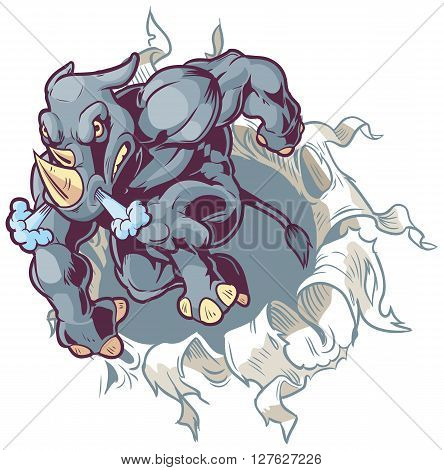 Vector Cartoon Clip Art Illustration of a Crouching Anthropomorphic Cartoon Mascot Rhino Ripping Through a Paper Background.