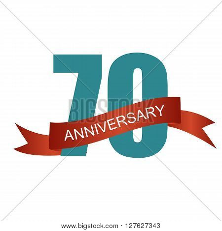 Seventy 70 Years Anniversary Label Sign for your Date. Vector Illustration EPS10