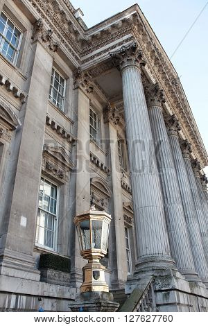 LONDON - MAR 31 2016: Mansion House is the official residence of the Lord Mayor of London